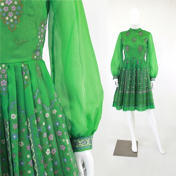 1960s Green Alfred Shaheen Fit & Flare Dress - 196