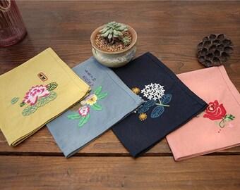 christmas gift Kit Handkerchief Embroidery Kit For Beginner Napkin Hand Embroidery Kit Modern Embroidery Kit flowers Embroidery Pattern