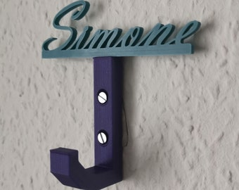 Individual coat hook for children with name lettering - ideal for children, as a gift, for kindergartens - plug-in system for changing