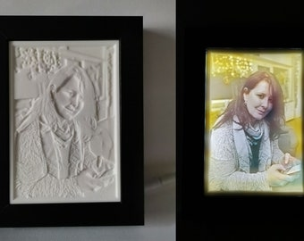 Color lithophane from own photo - Colorlithophane - in wooden frame backlit photo - battery operation and / or USB port