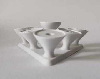 Evaporator stand - white stand for e-cigarettes - Vape Atty Stand 3D Printed - Stand for 6 Atty- Stand for 6 evaporators triangular