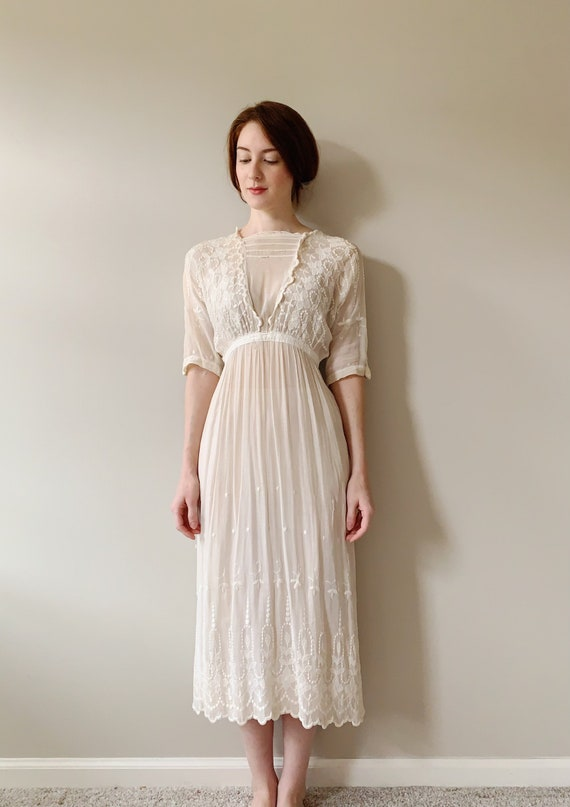 Antique Edwardian Tea Dress | Sheer White Cotton V