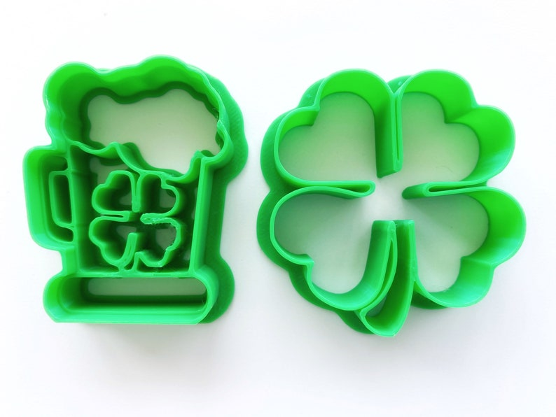 Many custom sizes available Ceramic and Clay Mold Dough Patricks Day Cookie Cutter Set Beer and Shamrock Irish Multipurpose Fondant St