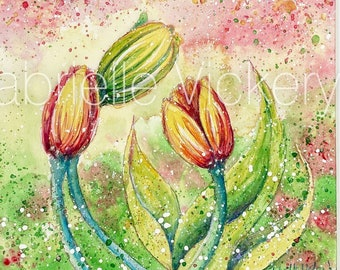 Original Watercolour Painting - Tulip Whispers - Wall Art - Wall Decor - Gift - By UK artist - Supplied with white mount.