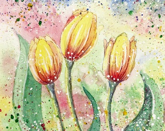 Yellow Tulip Print of an Original Watercolour Painting - Wall Art - Wall Decor - Gift - By UK artist - Supplied in white mount.