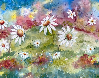 Original Watercolour Painting - DANCING DAISIES - Wall Art - Wall Decor - Gift - By UK artist - Supplied with white mount.