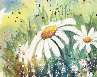 Original Watercolour Painting - Summer Bathing Daisies - Wall Art - Wall Decor - Gift - By UK artist - Framed and ready to hang.