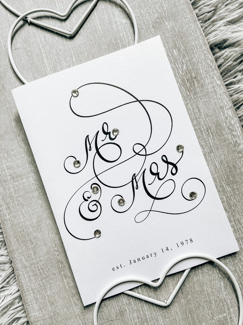 Custom card for couple Wedding Card Mr /& Mrs Anniversary Card