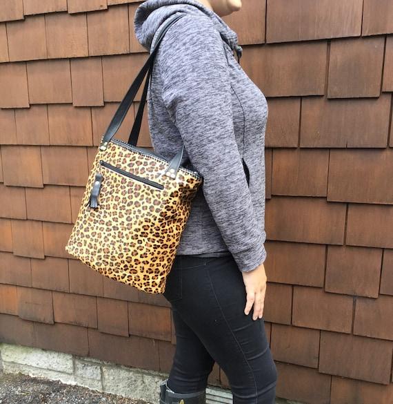 Rhona zip bag Leopard print tote bag