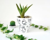 Hand painted terracotta pot with drainage hole Succulent planter indoor plant pots bestie gift