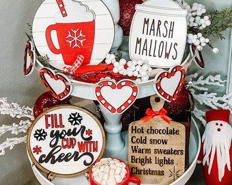 Hot Cocoa Christmas Cookie Tiered Tray Bundle Set 3D Wood Mini Signs Christmas Chocolate Mug Marshmallows Candy Cane Tier Tray Decor