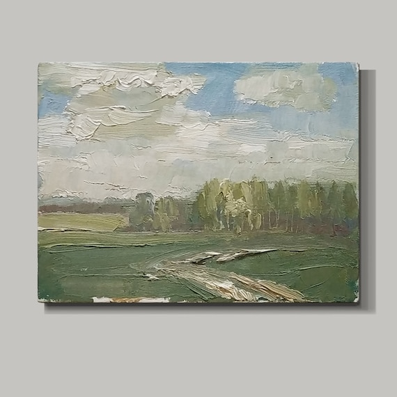 Spring landscape. Plenary, oil painting. Original painting. Artwork and collectibles objects. Interior decor. Landscape painting.