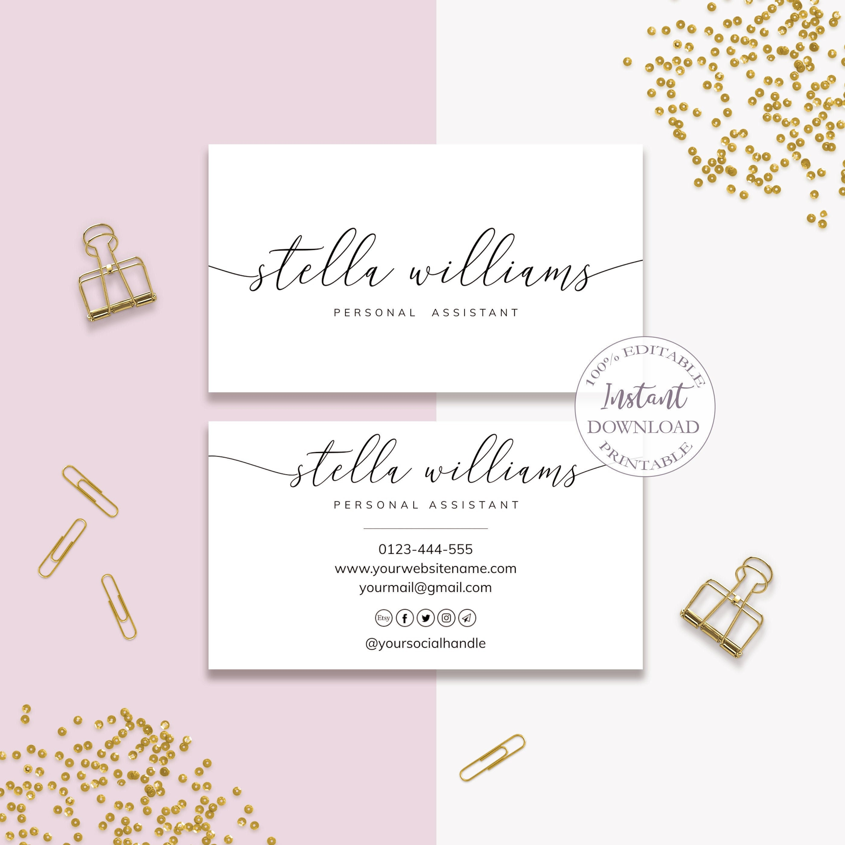 Business Card Template, Editable DIY Business Cards, Custom Business Cards,  Printable Hair Business Cards, Social Icons Included. DTP 20