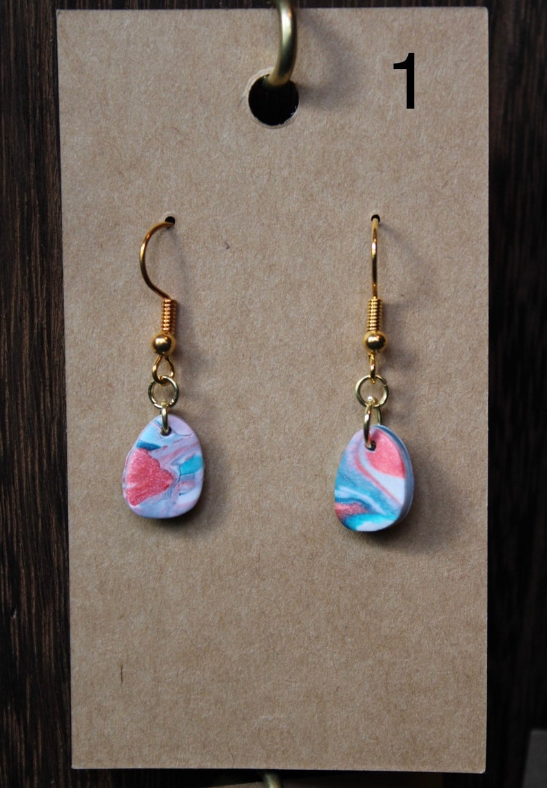 Pink and blue marble earrings