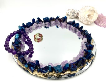 Crystal Jewelry Dish with Blue Druzy Agate and Raw Amethyst, Candle Holder