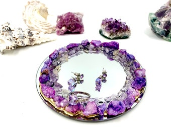 Purple Druzy and Ametrine Crystal Ring Dish, Candle Holder, Engagement Gift
