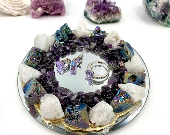 White and Blue Druzy Crystal Ring Dish with Amethyst Chips, Candle Holder, Engagement Gift