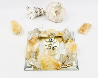 Raw Citrine and Quartz Crystal Candle Holder