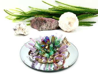 Crystal Ring Dish of Green, Blue and Lavender Quartz, Bridesmaid, Engagement Gift