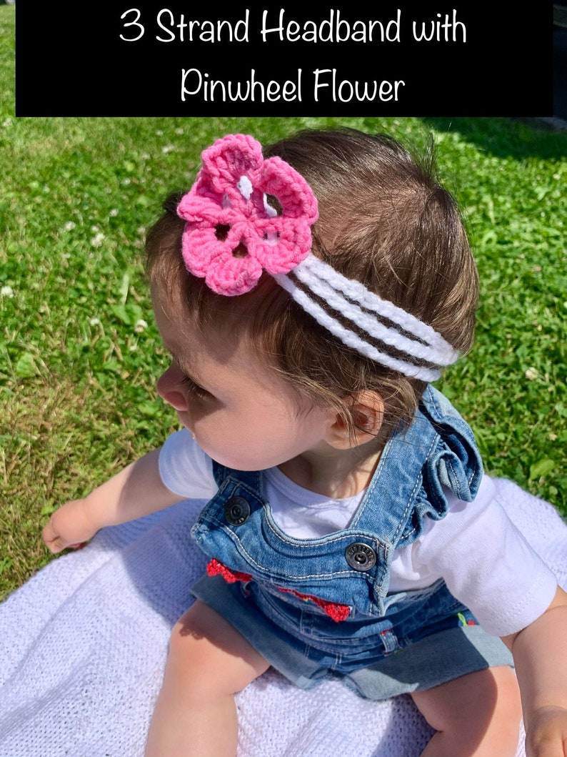 Multi Pink Colored Handmade Crochet Headband with Flower