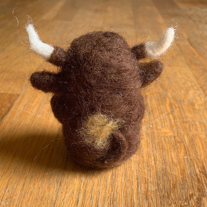Wool Bull Figurine- Durham Bull Wooly the Bull Needle Felted Bull Wool City Felts Mascot