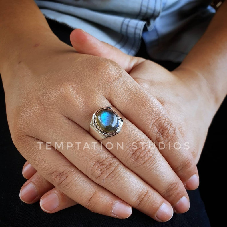 Cute Sterling Silver Ring Natural Labradorite Ring Alternate Engagement Ring Statement Ring Chic Jewelry
