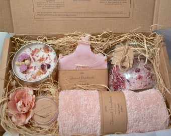 Handmade Soap Bar, Bath Salts, Scented Candle, Lip Balm & More Pamper Set