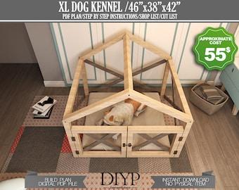 Digital plans for XLarge Dog House - indoor kennel plans