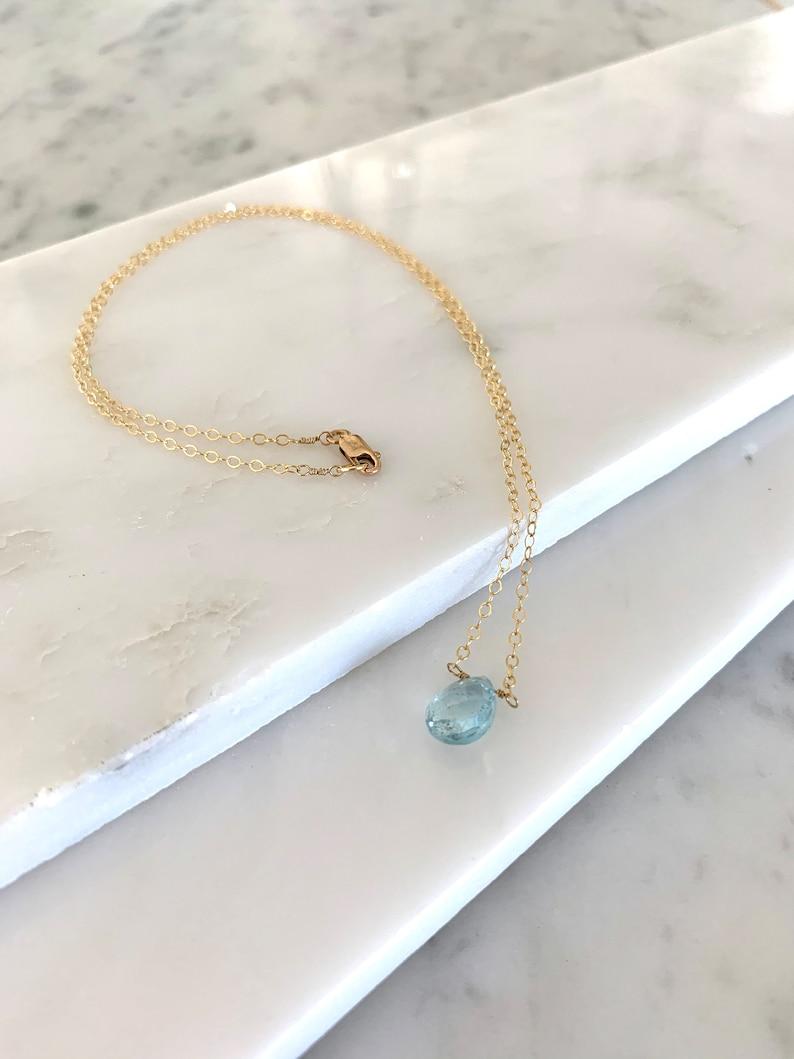 Blue Topaz Briolette Necklace