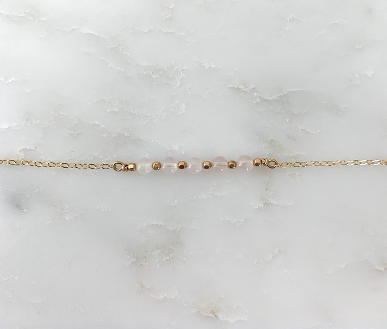 Rose Quartz Bar Necklace