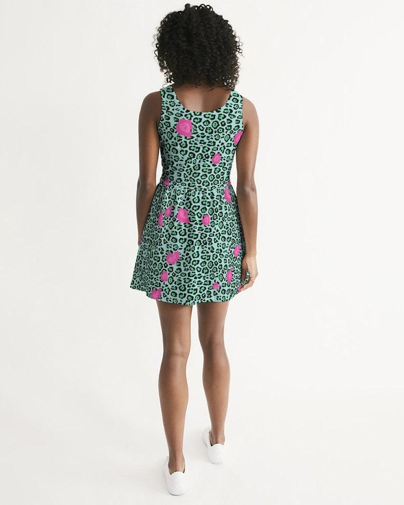 Women/'s Scoop Neck Skater Dress Mint Yaguarete
