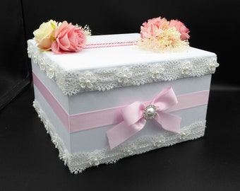 Wedding urn/baptism in white and pink customizable UNIQUE MODEL