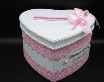 Customizable wedding/baptism urn in white and pink