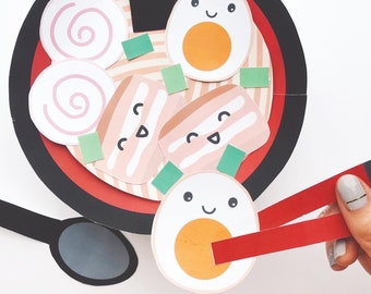 Japanese Ramen Paper Craft Kit- Free Coloring page included