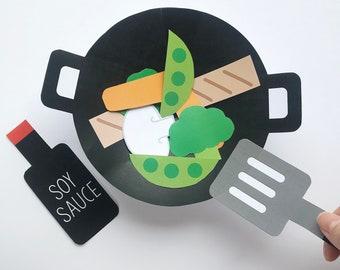 Chinese Stir Fry Paper Craft Kit + Free Coloring Page