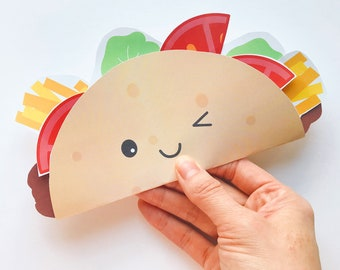 Taco Paper Craft Kit- Free Coloring Page included.