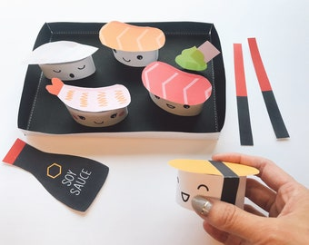 Sushi Dinner Papercraft - Free Coloring Page