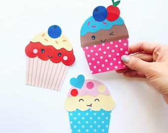 Cupcakes Paper Craft Kit- Free Coloring page included