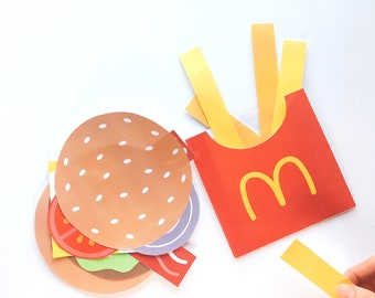 Burger and French Fries Paper Craft Kit- Free Coloring page included