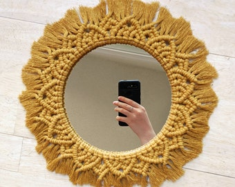 Mustard Macrame Mandala Mirror Frame | Boho Macrame Sun Wall Decor | Woven Wall Hanging