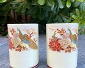 Satsuma Peacock Porcelain Sake Tea cups made in Japan