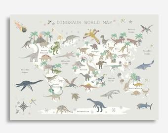 DINOSAUR World Map - Various Colours - Childrens Map - Map of the World - Nursery - Print - Dinosaurs - Kids art - Playroom - Liberty