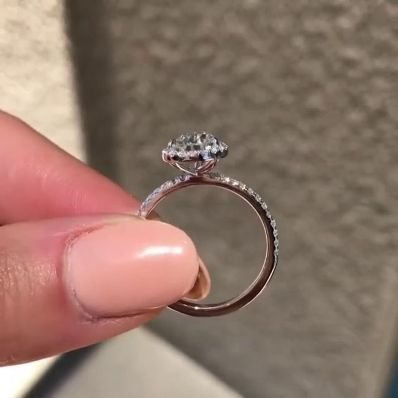 Anniversary Ring Pear Diamond Ring 14k Solid white Gold Pear Cut Moissanite Wedding Ring 10x7 MM Pear Cut Halo Moissanite Engagement Ring