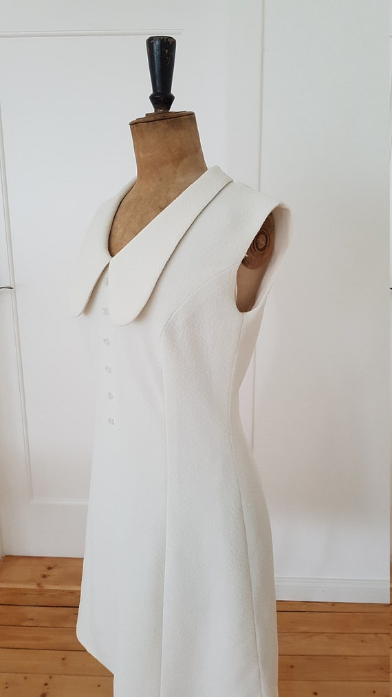 Vintage dress Peter Pan collar cream white #20120