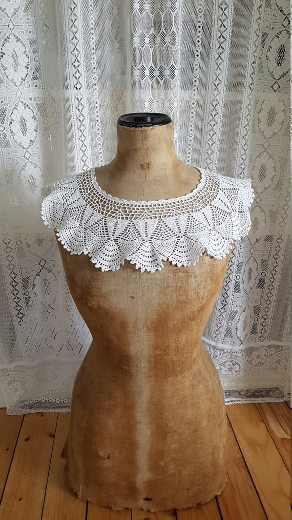 Large crochet collar lace collar round collar coll