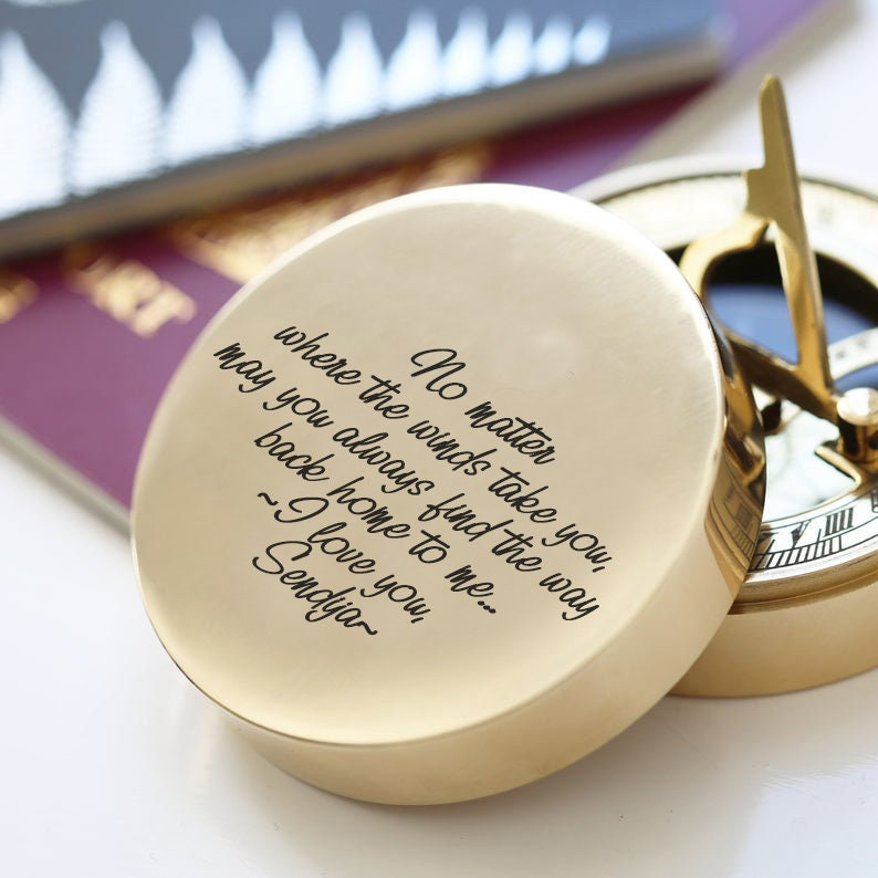 Valentines Day Gift Functional Working Compass Personalized Compass Handwritten Engraved Compass Romantic gifts Anniversary Gift