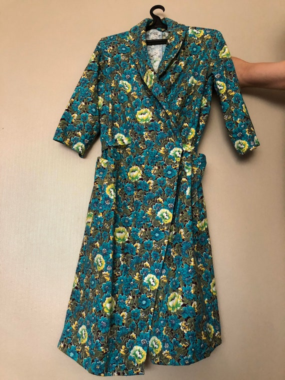 Soviet bath robe, floral robe, Russian bath robe,