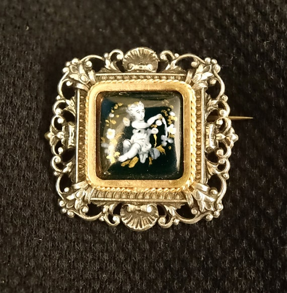 Antique Limoges French Glass Enamel Silver Brooch