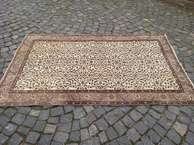 Area Rug  Vintage Wool Rug  Turkish Rug Boho Decor  Handmade Rug  Oushak Rug  Floor Rug UN\u0130QUE Rug  3.9x6.8 ft free shipping