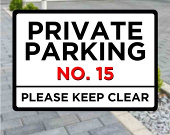 Personalised Private Parking Metal Sign. Customise with your number. A4 Plaque
